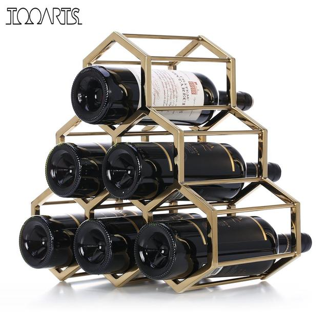 Aliexpresscom Buy Tooarts Honeycomb Wine Rack Metal Wine Holder