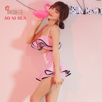 AONIHUA Design Pink Ruffles Skirt One Piece Swimsuit Women Halter Paded Push Up Swimwear Female Bathing