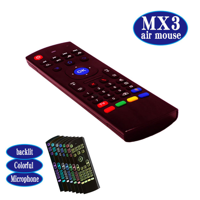 MX3 air fly mouse mini keyboard backlight colorful 2.4Ghz wireless ...