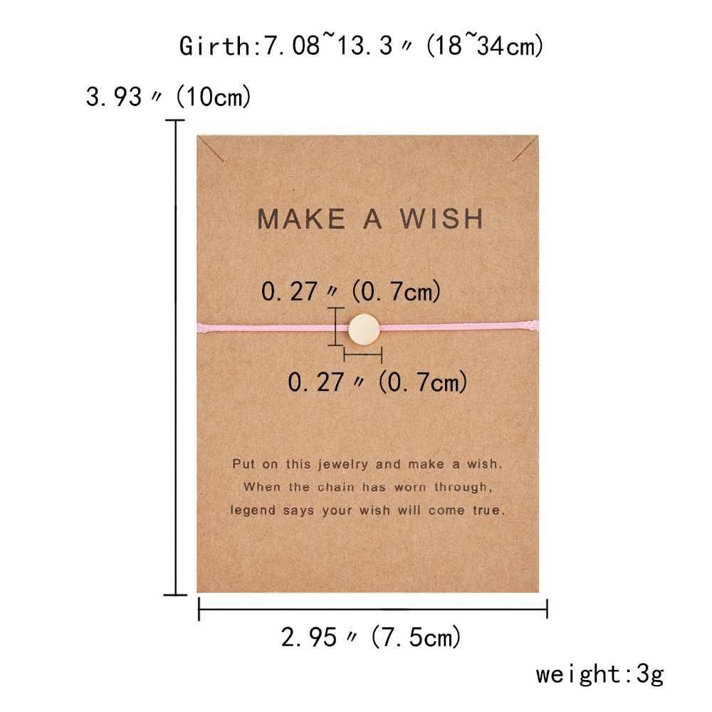 Faire un souhait carte papier Bracelet réglable papillon étoile couronne ronde à la main tissé Bracelet Simple mode femmes bijoux cadeaux