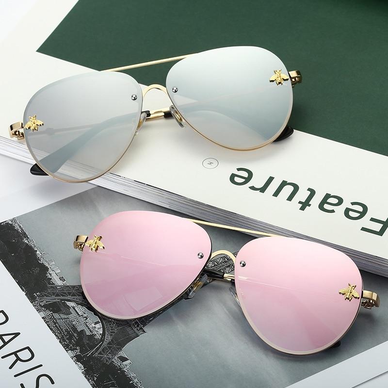 TOYEARN 2019 Classic Brand Designer Pilot Sunglasses Women Men Vintage Driving Small Bee Mirror Sun Glasses For Female
