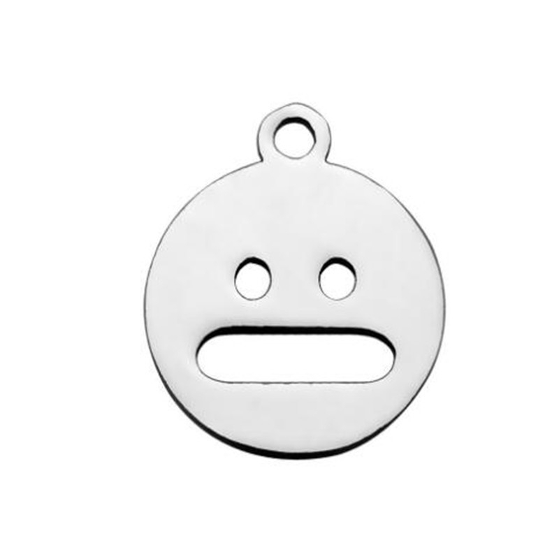 12mm Round Stainless Steel Face Expression Necklace Pendant For Fashion Jewelry DIY Making