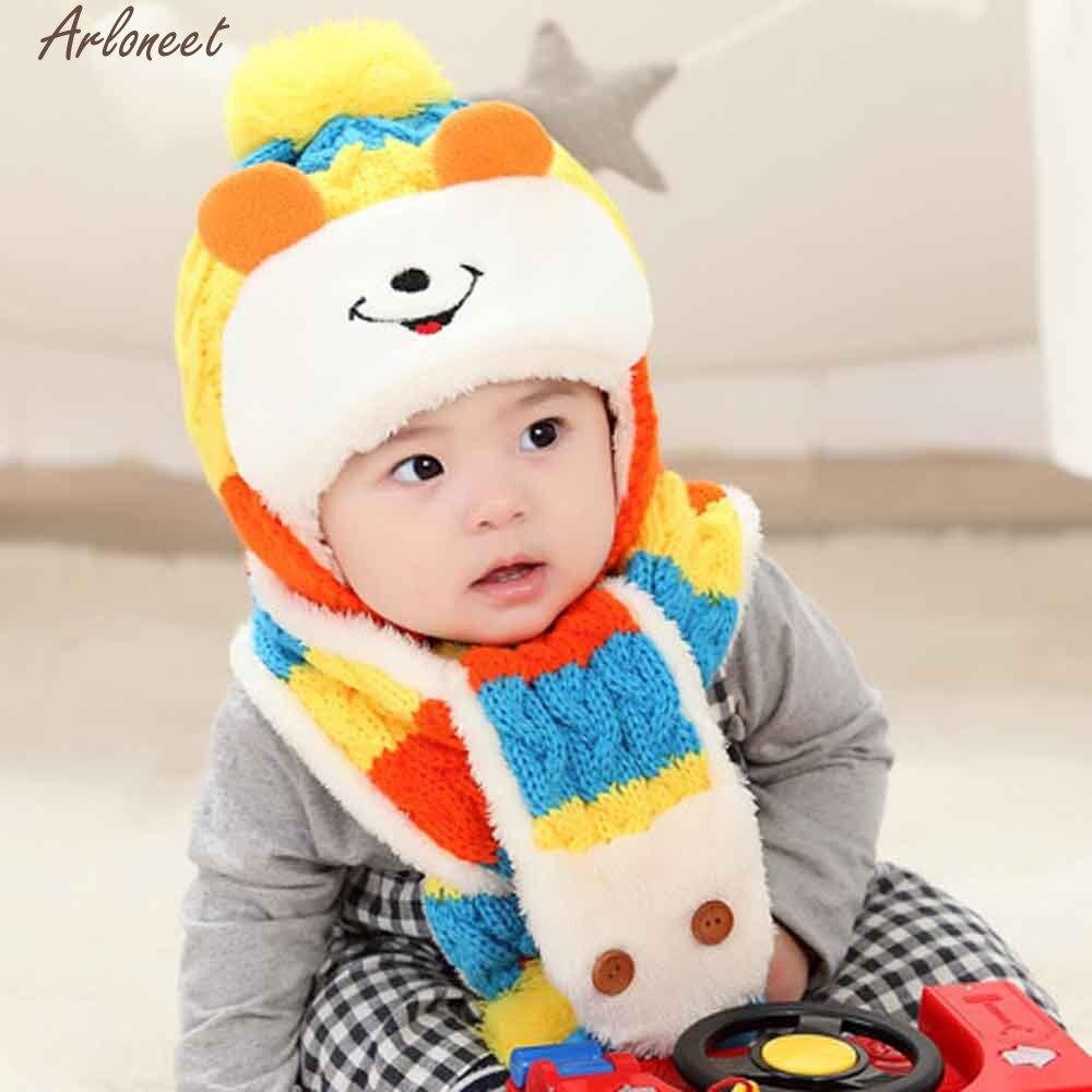 Arloneet Милая зимняя детская одежда для девочек Обувь для мальчиков теплые шерстяные капюшон шарф S Шапки хлопковые шапочки для новорожденных