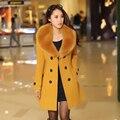 2016 mujeres del invierno Cruzado grande cuello de piel Más Tamaño Abrigo De Lana largo Invierno Chaquetas parka abrigos abrigos de alta calidad