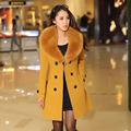 2016 winter women's Double Breasted big fur collar Plus Size Wool Coat long Winter Jackets parka coats Outerwear high quality