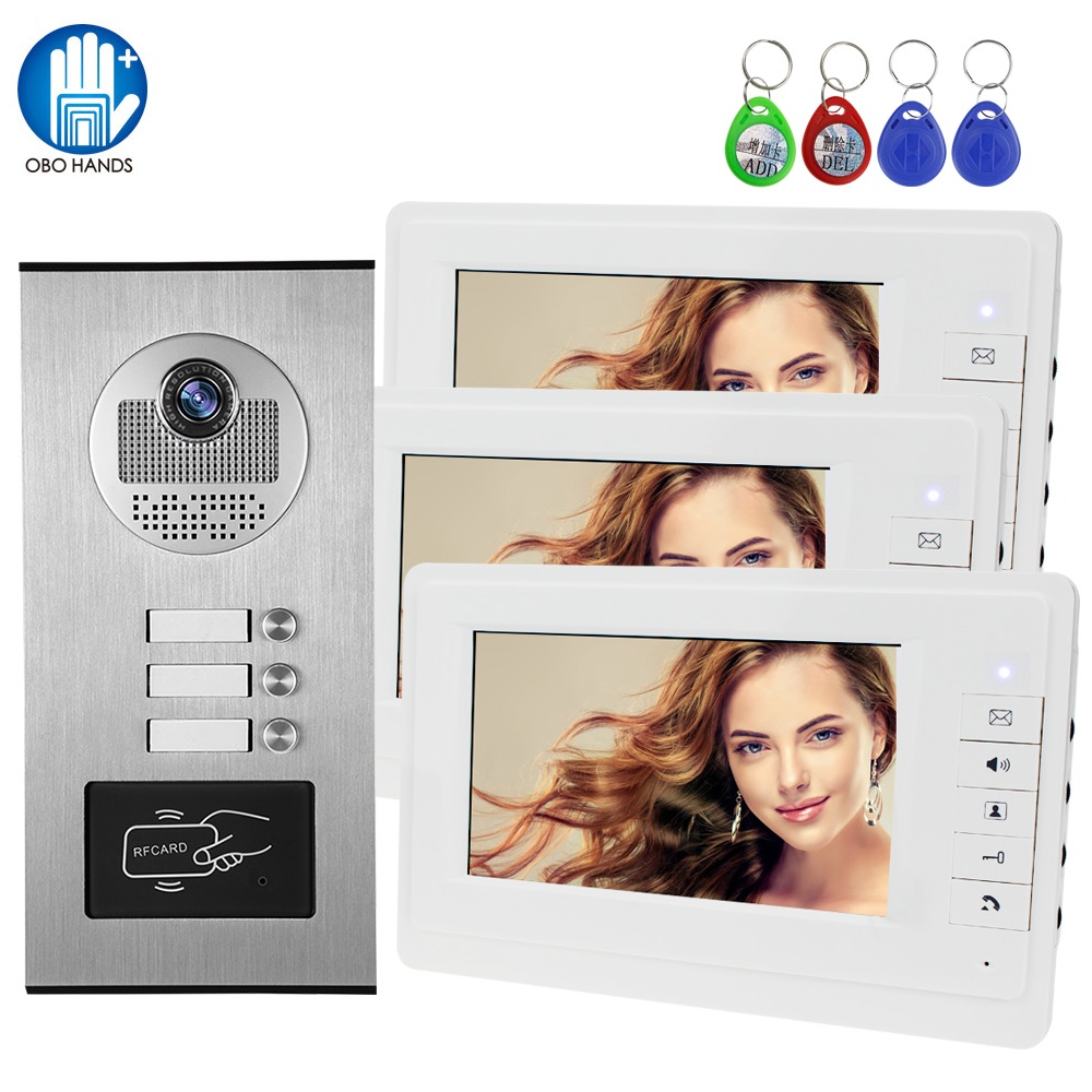 """Wired 7"""" RFID Video Doorbell Intercom System 2 / 3 / 4 / 6 / 8 Monitors Screen with Outdoor Camera for Multi Apartments Building"""