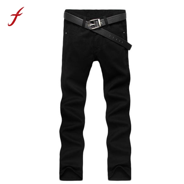 2018 New Trendy Fashion Men Jeans Black Slim Straight Pants Casual