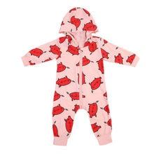 Helen115 Lovely Newborn Baby Girl Boy Cartoon Printed Full Sleeve Hoodie Bodysuit One Piece 0-24M