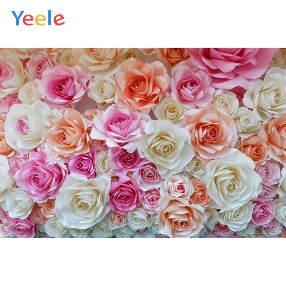 Yeele Wedding Flower Pink Photography Backdrops Curtain Birthday Party Custom Photocall Baby Shower Background For Photo Studio in Background from Consumer Electronics