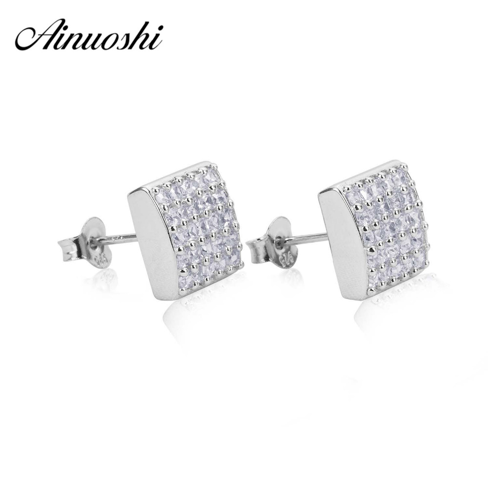 AINUOSHI 925 Sterling Silver Earrings for Women Christmas Jewelry Real Silver Push Back earrings pendientes plata de ley mujer