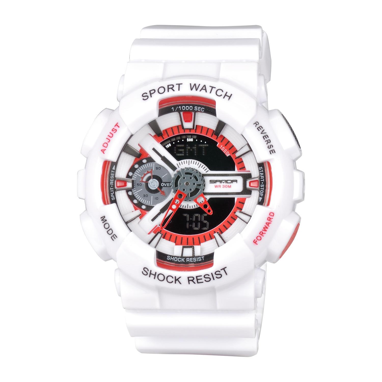 SANDA Luxury Brand Waterproof Watches Sport Outdoor Analog Digital Dual Time LED Watch Gift For Men
