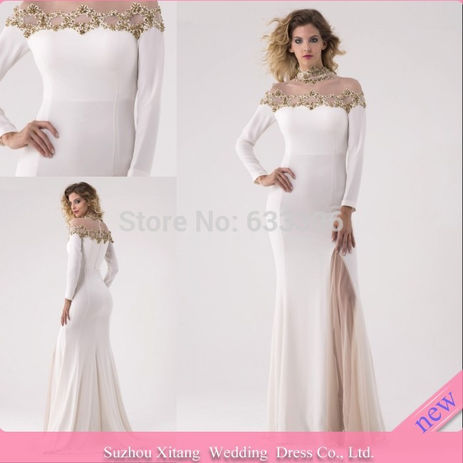 2015 White Sheath High neck Long Sleeve Applique Slit Floor length evening dresses Gown - Cloudup store