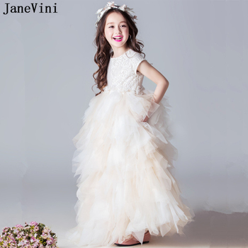 JaneVini Lovely Champagne Tulle Flower Girls Dresses for Weddings A Line Short Sleeves Girls Pageant Party Gowns First Communion