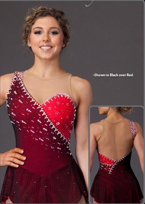 Vestido de patinaje sobre hielo rojo niñas spandex mujeres - Ropa de danza y vestuario escénico - foto 3