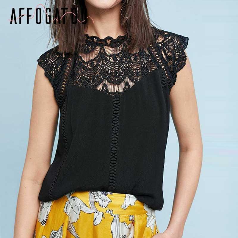 Affogatoo Rahat dantel beyaz bluz üst yaz kadın Zarif nakış şifon gömlek Vintage streetwear siyah üst bayanlar kadın