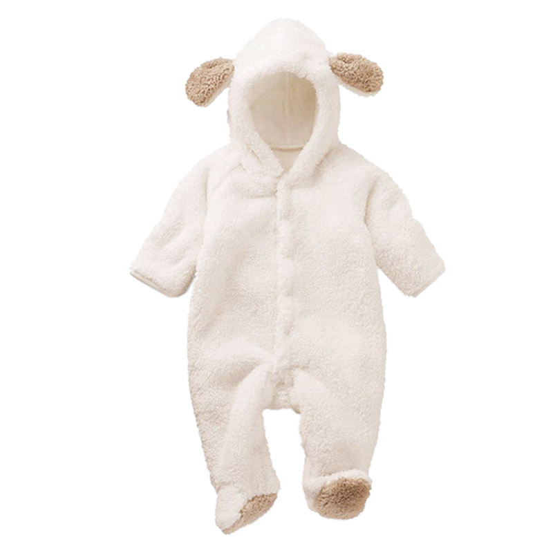 Newborn Baby Hooded   Romper   Baby Boys Girls Soft Warm Winter Long Sleeve Animal Jumpsuit Cute Clothing For 3-12M Drop Shipping