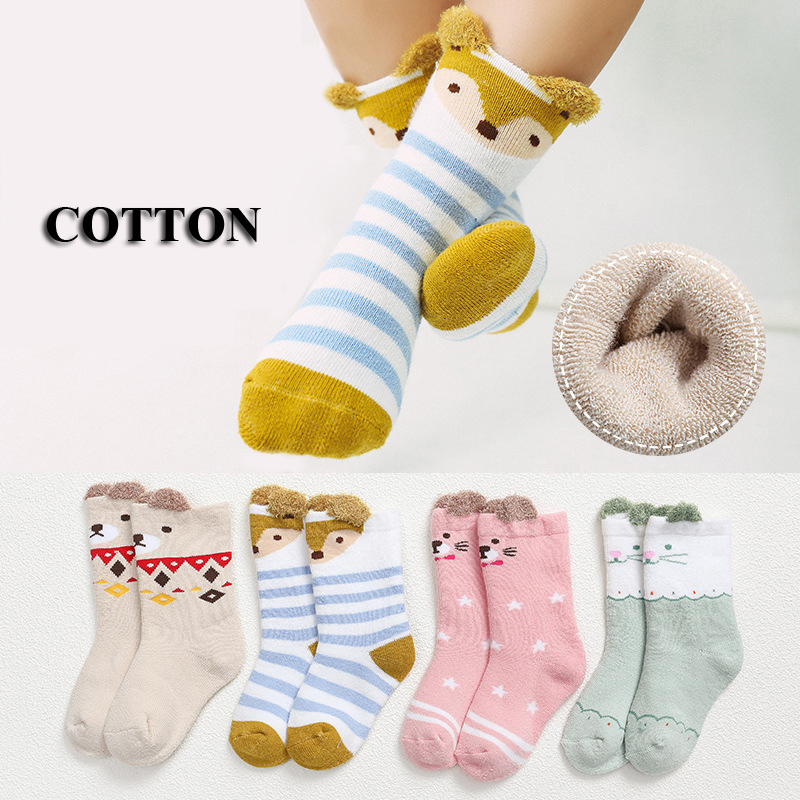 4Pairs Lot Infant Cartoon Socks Baby Gift Seamless Slip resistant Cotton Toddler Kids Winter Warm Socks Wholesale For Boys Girls in Socks from Mother Kids