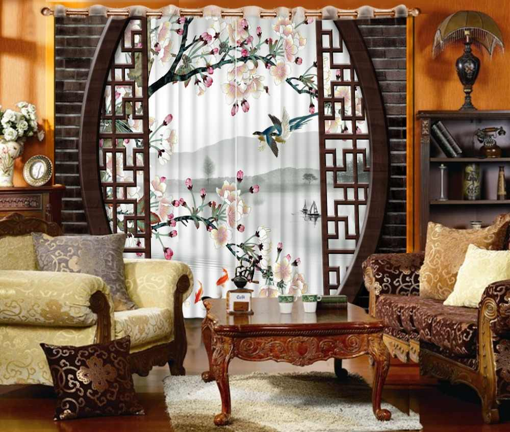 Classic Home Decor Curtain Design 3D Curtain Chinese Style Brick Plum Birds and flower curtain Shade Window Curtains For Bedroom