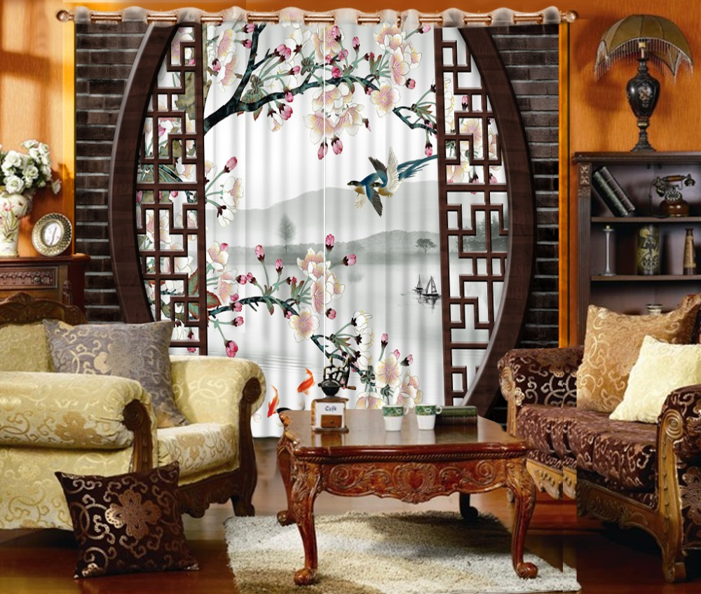 Classic Home Decor Curtain Design 3D Curtain Chinese Style