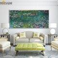 Клода монет HD Водяные лилии импрессионистический стиль холст печать живопись искусство Большой размер настенные картины для гостиной дома...