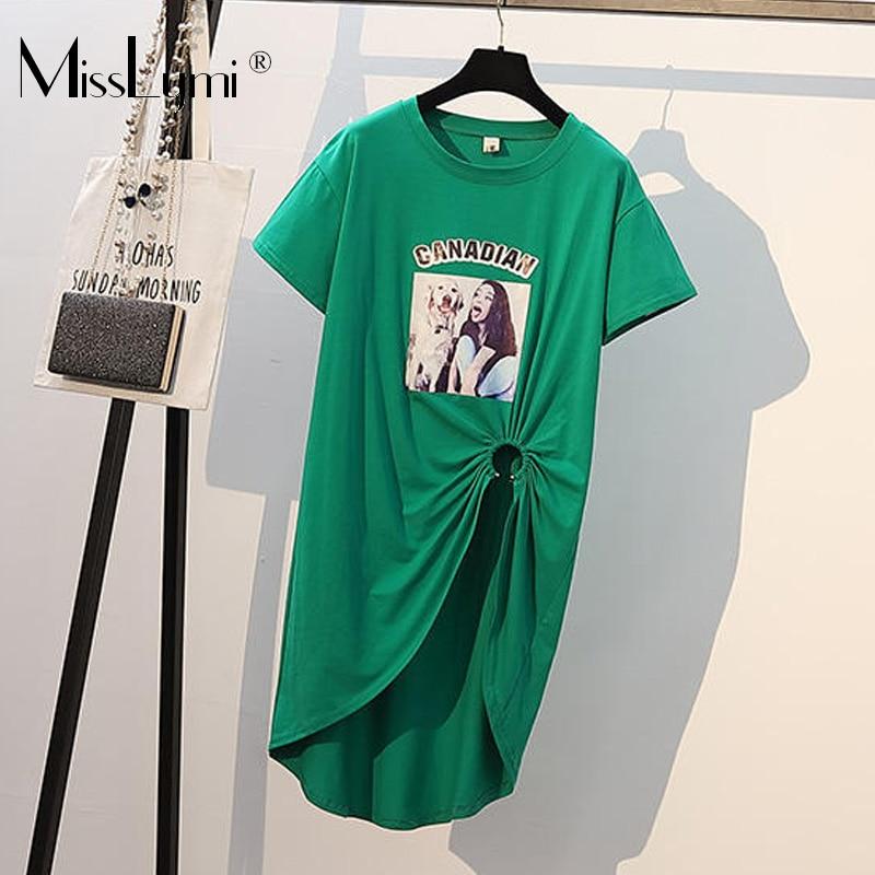 XL-4XL grande taille femmes coton t-shirt robe été 2019 mode imprimé manches courtes évider fente asymétrique robes courtes