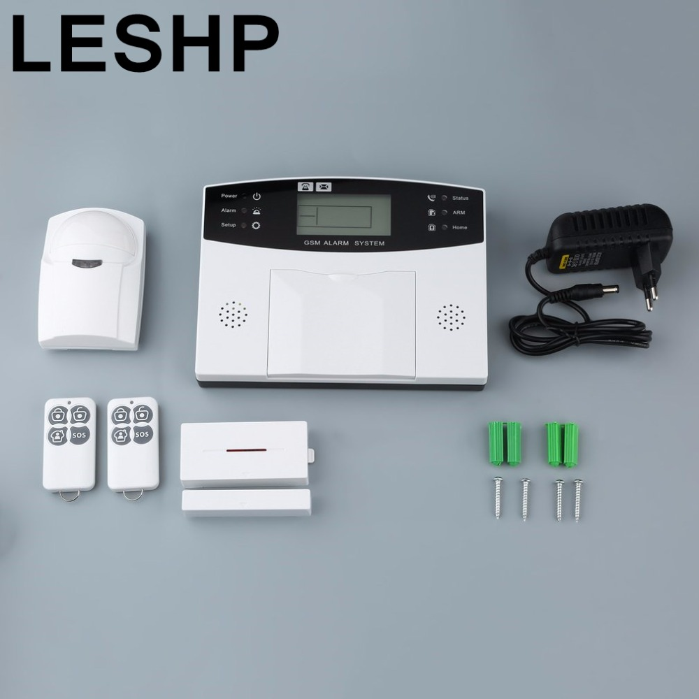 LESHP 433 MHz Wireless Alarm Clock GSM Digital Alarm System PIR Detector Door Sensor Remote Control Home Burglar Security Sensor novelty run around wake up n catch me digital alarm clock on wheels white 4 aaa