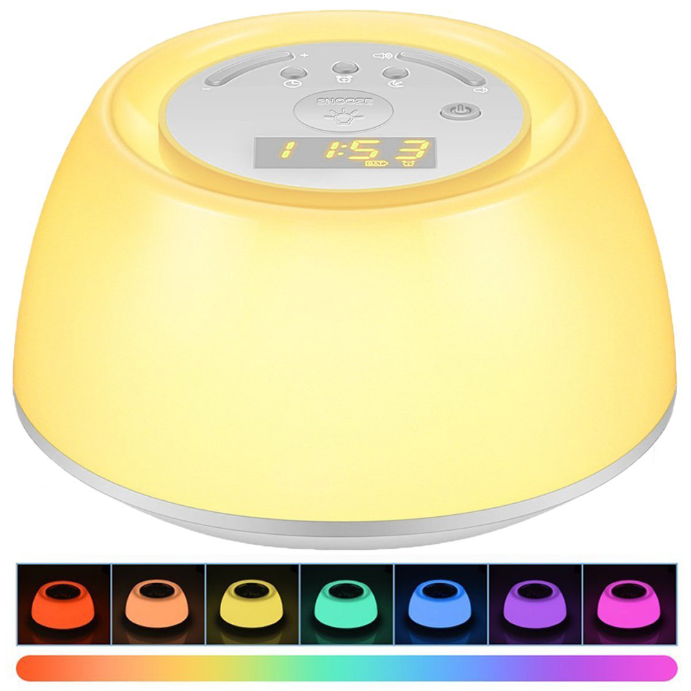 LED Wake Up Light Alarm Clock Sunrise Simulation Digital Clock with Colorful Night Light Snooze Function