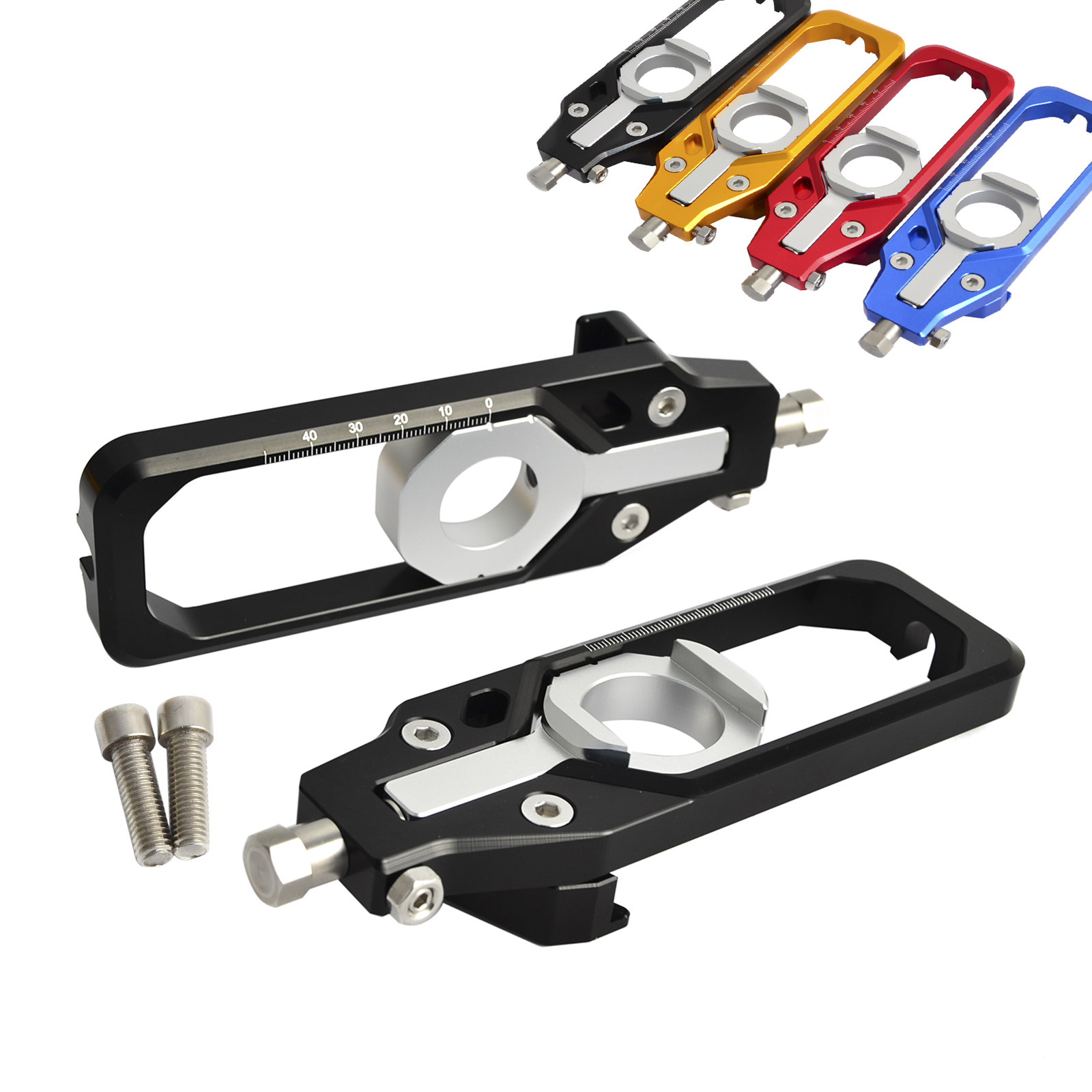 Motorcycle Left & Right Chain Adjuster Tensioners For BMW S1000RR 2009-2017 S1000R 2013-2017 S1000 RR HP4 2013 2014 new motorcycle cnc billet rear axle spindle chain adjuster blocks for bmw hp4 2012 2014 s1000r 2013 2015 s1000rr 09