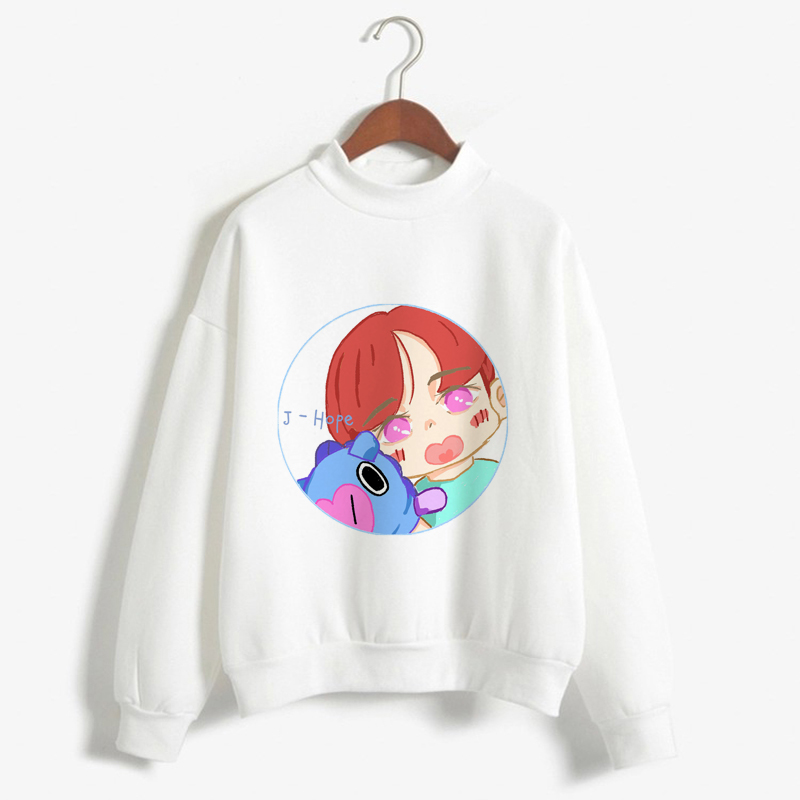 Korean BTS Love Yourself Kpop Women Turtleneck Q Version Print Sweatshirts Hoodies Streetwear Hip-Hop Bangtan Boys Jimin Clothes