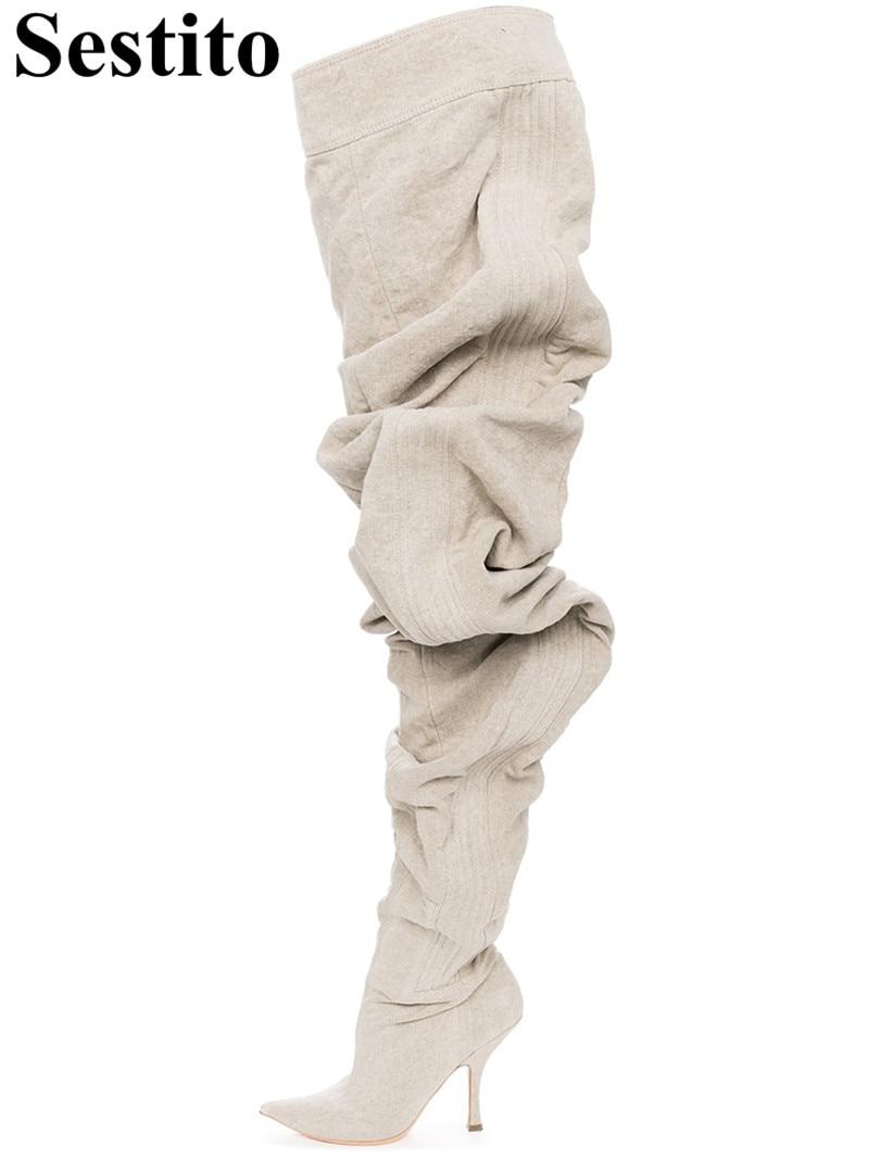 Picture Bottes Bout Pour Femmes Automne Longues Mode Le Catwalk as Zip Pointu Genou Mince As Talon Chaussures Hiver Plissée Picture Sur Blanc u1c3TKJ5lF
