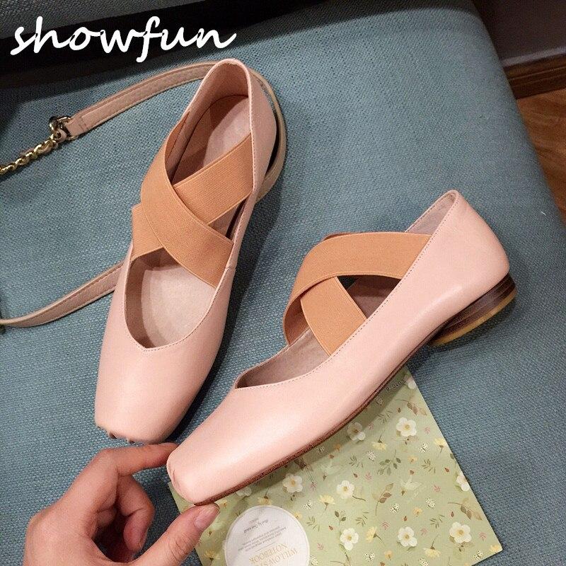 Women s Ballet Flats Genuine Leather Square Toe Brand Designer Elastic Band Slip on Ballerinas Shoes