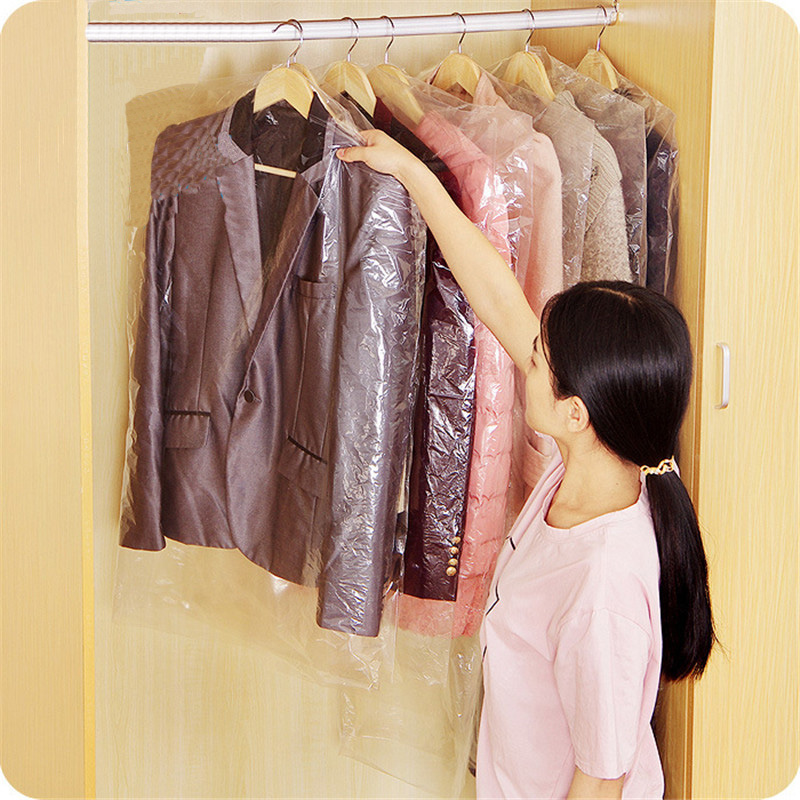 Hanging Organizer 5 pcs 60x90cm Plastic Suit Garment Dustproof Storage Bags Cover Clothes Dress Protector in Wardrobe