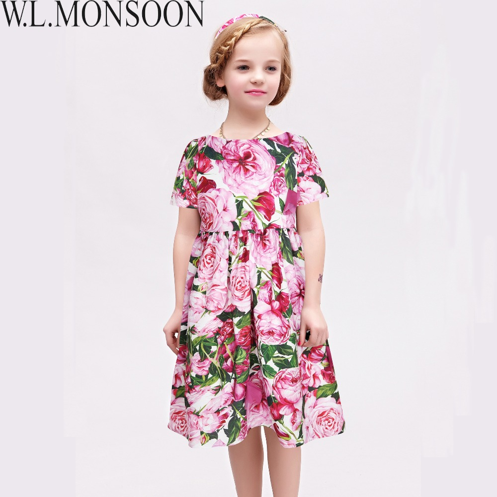 W.L.MONSOON Kids Dresses for Girls Clothes 2018 Brand Toddler Girl Summer Dress Rose Flower Robe Fille Princess Dress Children girls summer dress kids clothes 2017 brand baby girl dress with flower robe fille princess dress children clothing
