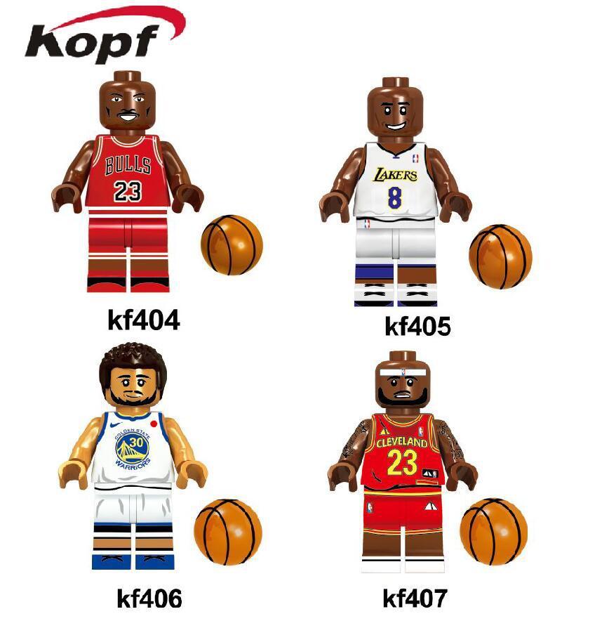 online store 74cdb d7169 US $40.99 |50pcs Wholesale NBA Basketball Jordan Kobe Lebron James Curry  Figure Building Blocks Bricks Toys Compatible With Lego-in Blocks from Toys  & ...