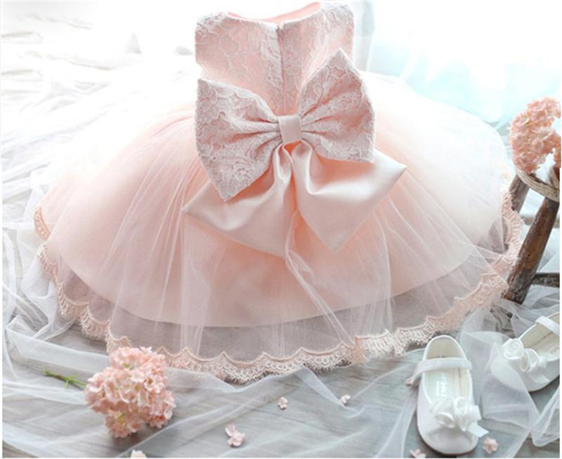 Baby Girls Lace Christening Gown Dress For Newborn Baby Clothing Girl Clothes Big Bow First Birthday Tutu Dress For Toddler Girl цена 2017
