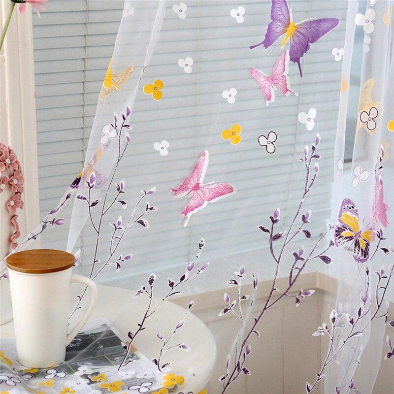2017 1 Stücke Schmetterling Zweige Gedruckt Tüll Vorhänge Für Wohnzimmer Indoor Fenster-screening Decor Balkon Burnout Voile Vorhang Geschickte Herstellung