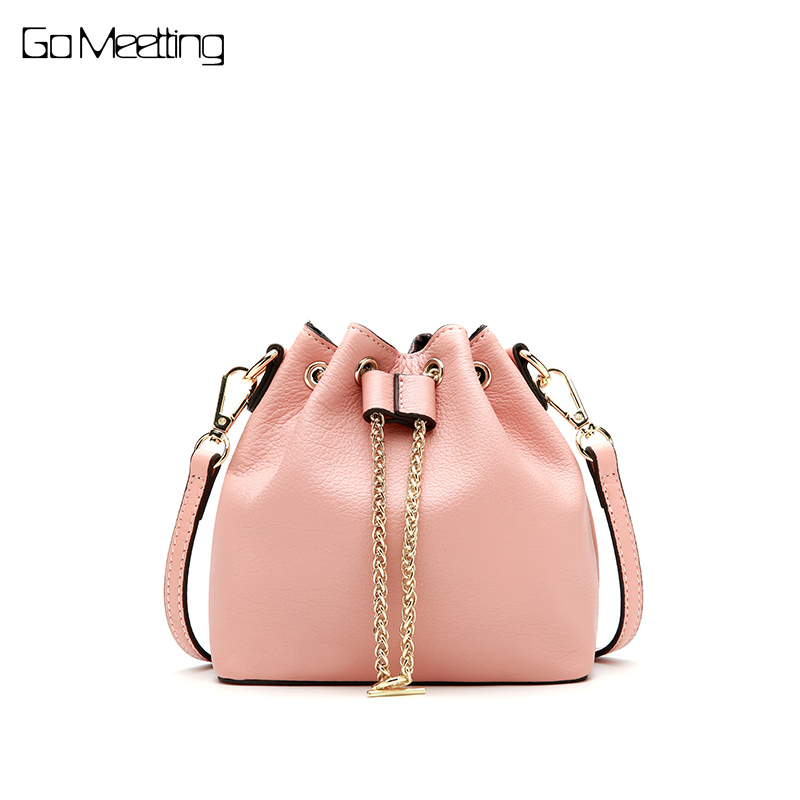 Go Meetting High Quality Women Mini Bucket Bag Chains Genuine Leather Shoulder Bags Cow Leather Ladies Small Crossbody Bag 2018