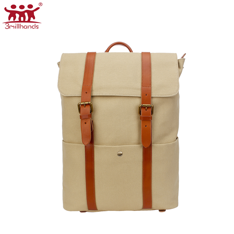 ФОТО Limited Edition 3Millhands Big multi function khaki canvas backpack men bags double straps backpacks designer