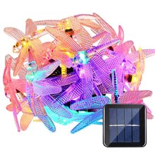 Dragonfly Solar String Lights, 15.7ft 20LED Christmas Fairy Garden Lights  For Outdoor, Home, Lawn, Patio, Party And Holiday Deco