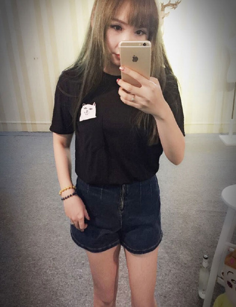 Women T Shirt 2015 Summer Style EXO Totoro Printed Cat Pocket Shirt Harajuku O-neck Short Sleeve Cotton Couple Top Tee Plus Size