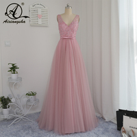2018 Pink Prom Pearls Princess Evening Party Dresses Glormous Appliques Crystal Beaded In Stock Customized Real Photo Hot Dress