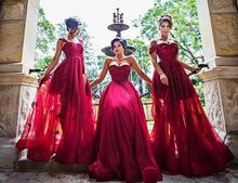2016 Dark Red Lace Applique BeadA Line Long Bridesmaid Dresses Arabic Sexy Evening Prom Dress Gowns