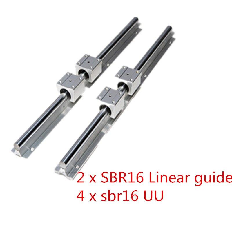 16mm Rail Linéaire 2 pièces SBR16 1200 1500mm Appuie Pleinement Glissière Tige Guide avec 4 pièces SBR16UU Bloc