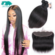 Allrun Hair Lace Frontal With Bundles Peruvian Straight Hair With Closure Human Hair Bundles With Lace Frontal Closure Remy