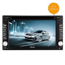 Android 5.1 Double Din Car DVD Player with Quad Core In Dash Navigation GPS Unit Radio Audio Receiver Bluetooth Stereo steering