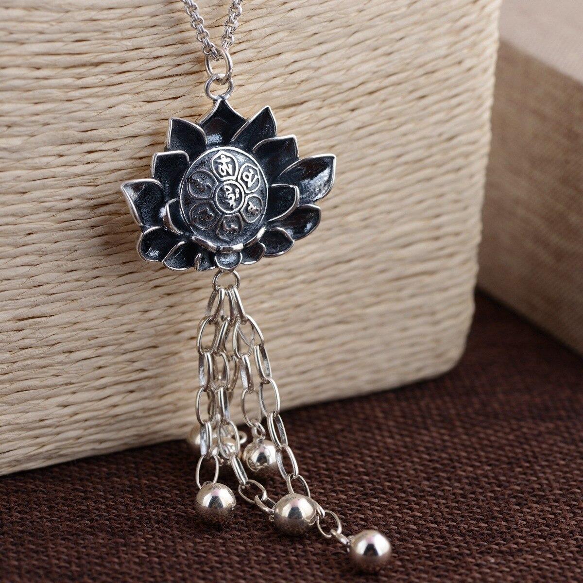Cerf roi bijoux en gros S925 fleur pendentif ANTIQUE en argent STERLING chaîne gland six mots de nouvelle technologie