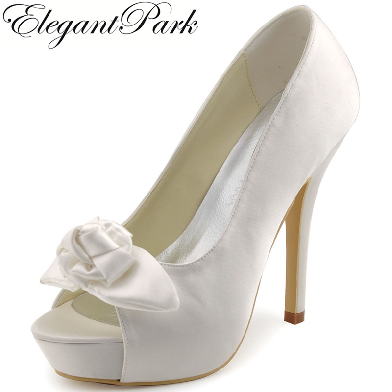цена на Elegant Women Evening Party Pumps EP11091-IP Peep Toe Bow Platform 5 high Heel pumps Satin Wedding Bridal Shoes Woman