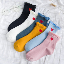 Women Socks New Autumn 1 Pair Long Casual Breathable Cute Cotton Color Fashion Heart Lady