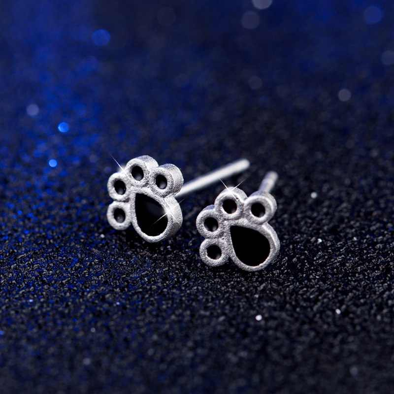 OMHXZJ Großhandel Persönlichkeit Mode OL Frau Schwarz Katze Klaue 925 Sterling Silber Stud Ohrringe + Ring + Halskette Schmuck Set SE17