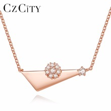 CZCITY Brand CZ Crystal Flawer Pendant Women 925 Sterling Silver Necklace Rose font b Gold b